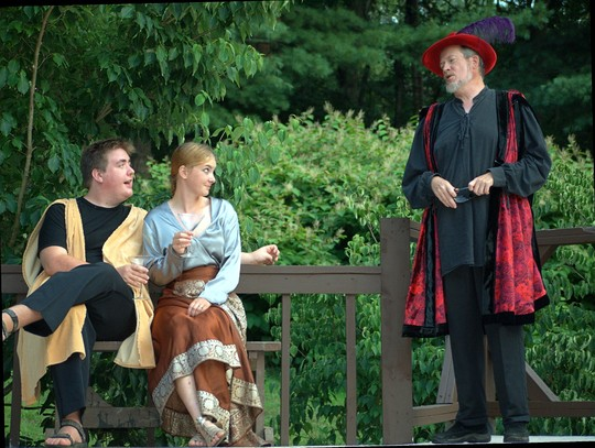 David Mycoff as Pandarus extols the virtues of Troilus to Magdalen Zinky as Cressida. Dwight Chiles as Cressida's traitorous dad, Calchas, puts in his two cents. Photo courtesy of Montford Park Players.