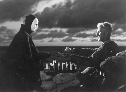 Death and the Knight (Max von Sydow, right) play chess.
