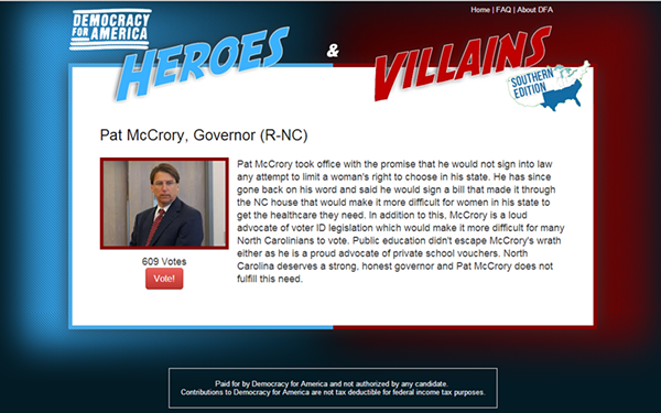 Democracy for America only offers one option for Mayor Pat: Villain