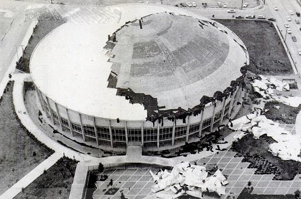 Despite a 1958 storm that ravaged the coliseum, scheduled events went on