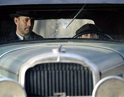 DREAMWORKS & FOX - DRIVING AMBITION Tom Hanks and Tyler Hoechlin hit - the Road to Perdition