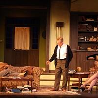 DRUNKEN BEHAVIOR, BY GEORGE: George (Ron Law, standing) entertains Martha (Paula Baldwin), Honey (Martina Logan) and Nick (Adam Griffin) in Who's Afraid of Virginia Woolf?