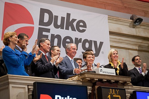 Duke Energys CEO Jim Rogers rings the opening bell at the New York Stock Exchange on July 12,2011 in New York City.