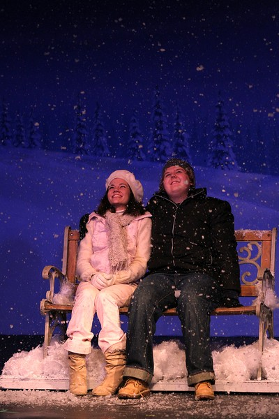 Emily Johnson as Ginnette and Geoffrey Denson as Pete in CPCC's Almost, Maine.