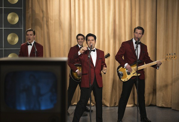 Erich Bergan, Vincent Piazza, John Lloyd Young and Michael Lomenda in Jersey Boys. (Photo: Warner Bros.)