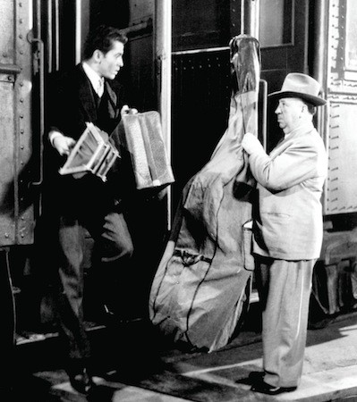 Farley Granger and Alfred Hitchcock on the set of Strangers on a Train (Photo: Warner Bros.)