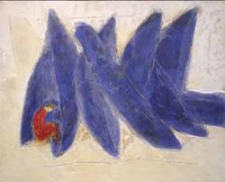 FIGURA EN ROJO: Raul Diaz painting on display at Jerald Melberg Gallery