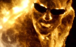 WARNER BROS - FLAME ON Agent Smith (Hugo Weaving)  creates his - own version of a firewall in The Matrix - Revolutions
