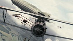 MGM - FLED ZEPPELIN Enemy pilots prevent a flyer from the Lafayette Escadrille from attacking a blimp in Flyboys.