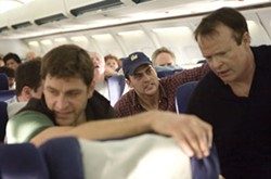 JONATHAN OLLEY / UNIVERSAL - FLIGHT CLUB Jeremy Glick (Peter Hermann), Mark Bingham (Cheyenne Jackson) and Thomas E. Burnett Jr. (Christian Clemenson) are among the passengers leading the charge in United 93