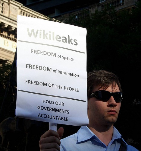 From a Dec. 14, 2010, rally to Free Julian Assange and support the wikileaks website.