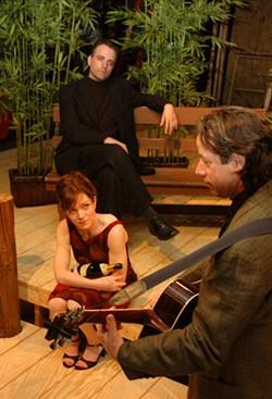 VIRGINIA MORROW - Glenn Hutchinson (background), Dana Ortt and Thom Tonetti in The Pavilion