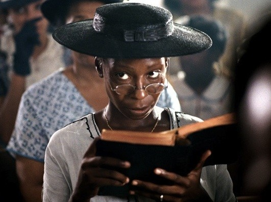 Goldberg in her Oscar-nominated performance as Celie in The Color Purple