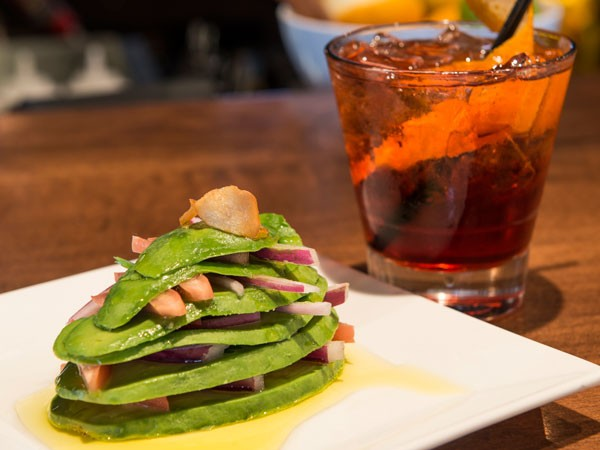 Guacamole Stack with the Autumn Negroni - JOHN PICKLESIMER