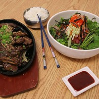 Hard to find Korean dishes: Bul go gi and Hwe dup bob.