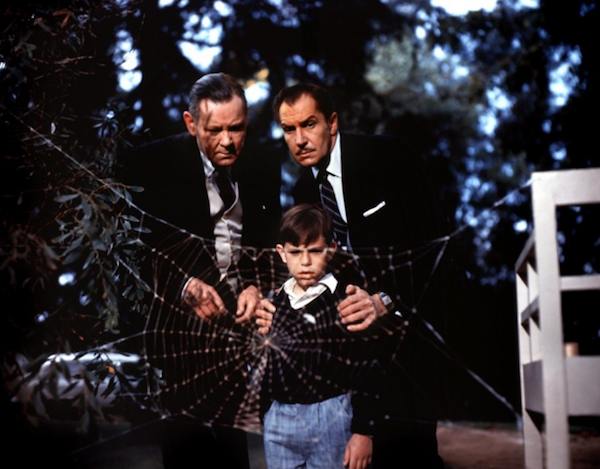 Herbert Marshall, Charles Herbert and Vincent Price in The Fly (Photo: Fox)