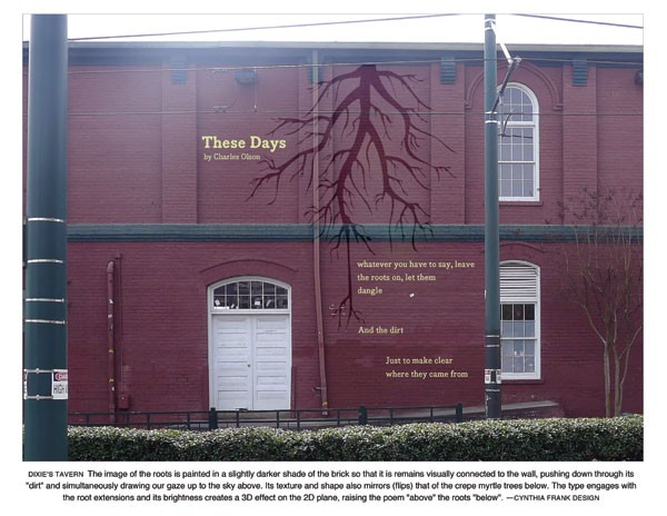 Here's a peek at what Charles Olson's 'These Days' will look like on the side of Dixie's Tavern. - WALL POEMS OF CHARLOTTE
