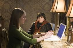 MELINDA SUE GORDON / WARNER BROS. - HEY, ABBOTT!: Corky (Josh Flitter, who's like Lou Costello only not funny) stares lustily at Nancy (Emma Roberts) in Nancy Drew
