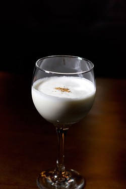 MEREDITH JONES - Homemade eggnog with bourbon made by Bob Peters at Pisces Sushi Bar and Lounge