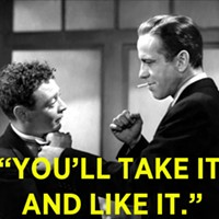 Humphrey Bogart smacks around Peter Lorre in this scene from The Maltese Falcon. (Photo credit: Warner Bros.)