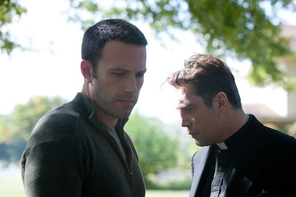 I WONDER AS I WANDER: Neil (Ben Affleck) and Father Quintana (Javier Bardem) ponder love, faith and living in Oklahoma in To the Wonder. (Photo: Magnolia Pictures)