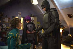 DAN SMITH / LIONSGATE - I'M BATMAN! NO, NOT REALLY: Big Daddy (Nicolas Cage, right) introduces himself and Hit-Girl (Chloe Grace Moretz) to Kick-Ass (Aaron Johnson) in Kick-Ass.