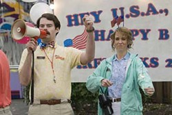 MIRAMAX - IN CHARGE: Bobby (Bill Hader, with Kristen Wiig) lays down the law in Adventureland.