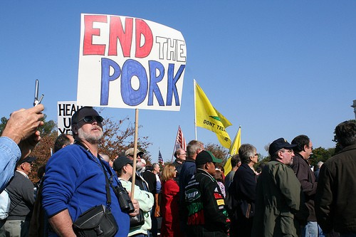 Ironically, this sign was on display at a Bachmann Tea Party rally in Nov. 2009