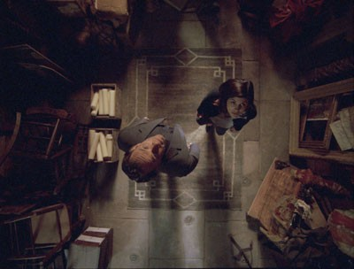 IS THAT YOU, GOD? Robert Langdon (Tom Hanks) and Sophie Neveu (Audrey Tautou) seek inspiration from above in The Da Vinci Code. (Photo: Columbia)
