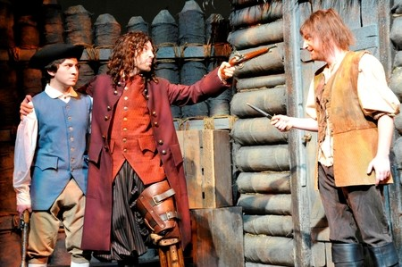 Isaac Josephthal, Mark Sutton and Ashby Blakely star in Children's Theatre of Charlotte's production of Treasure Island.