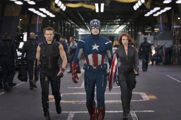 Jeremy Renner, Chris Evans and Scarlett Johansson in The Avengers (Photo: Disney)