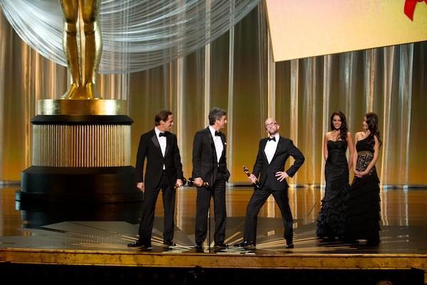 Jim Rash (middle) as Angelina Jolie