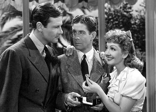 Joel McCrea, Rudy Vallée and Claudette Colbert in The Palm Beach Story (Photo: Criterion Collection)