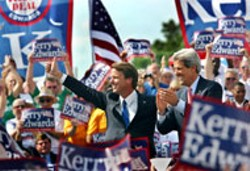 JOHN KERRY FOR PRESIDENT, INC. FROM SHARON FARMER - John Kerry and John Edwards greet supporters on - their first full day as a team