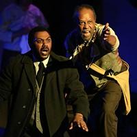Jonavan Adams as Harold Loomis (left) and Willie Stratford  Jr. as Bynum in Joe Turner's Come and Gone.