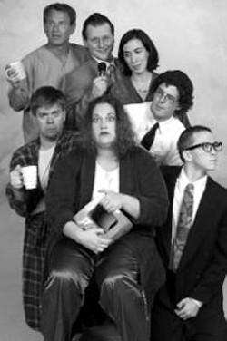 Julie Janorschke, Aaron Moore, Marshall Case, - Christopher Leonard, Nicia Carla, Travis Creston and - Nathaniel Gaw in BareBones Theatre's Someone's - Knocking