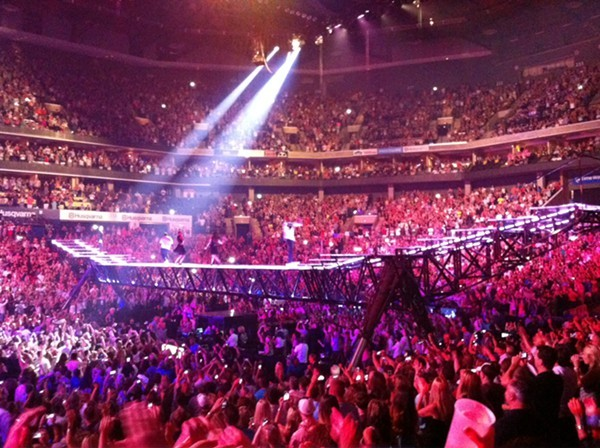 Justin Timberlakes stage at the back of the arena floor.