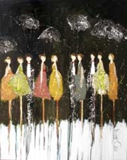 Kim Schuesslers Rain Drop Dancers at  Midnight will - be on display at Shain Gallery Apr. 22  May 30