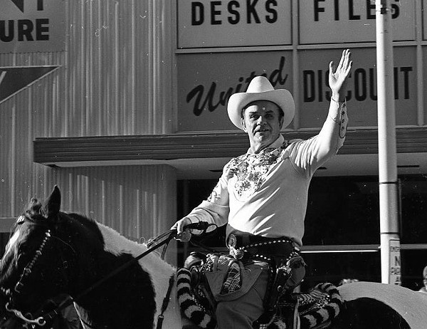 Kirby riding Calico in the 1974 Carousel Parade