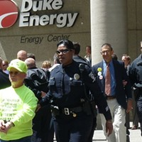 Larry Gibson's during a Duke Energy protest in 2009