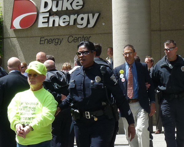 Larry Gibsons during a Duke Energy protest in 2009