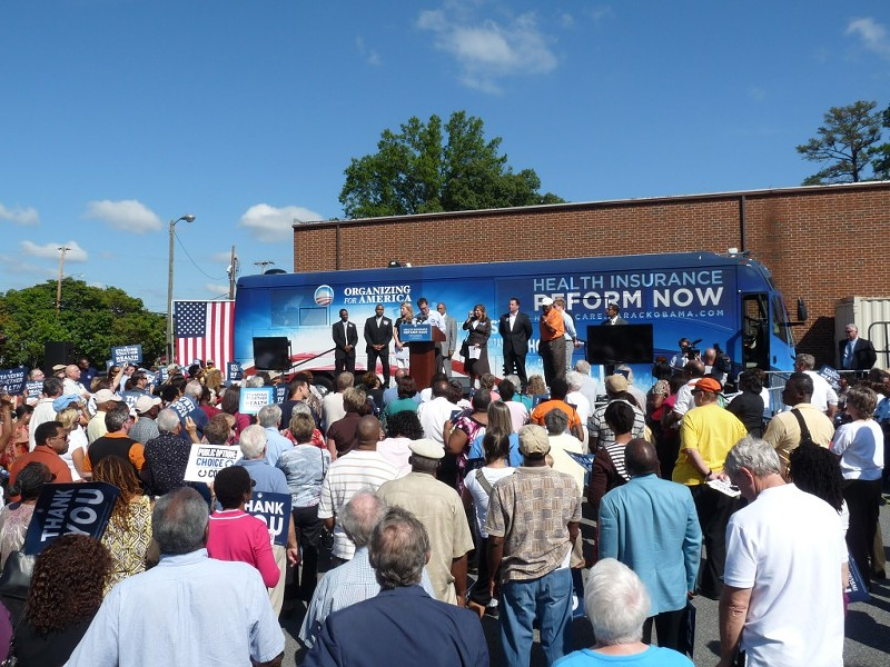 Last fall, OFA's health care reform tour bus stopped at Teamster's Hall on N. Tryon for a rally.