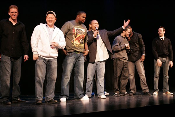 LAUGHS IN UNLIKELY PLACES: Neil Bansil (center) and his fellow comics are magic on the mike. (Photo: MRSOE)