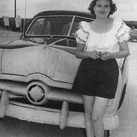 Legendary driver Sara Christian with her 1948 Ford