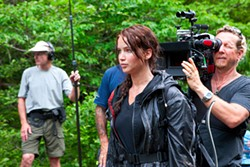 MURRAY CLOSE / LIONSGATE - LET THE GAMES BEGIN: Jennifer Lawrence on the set of The Hunger Games