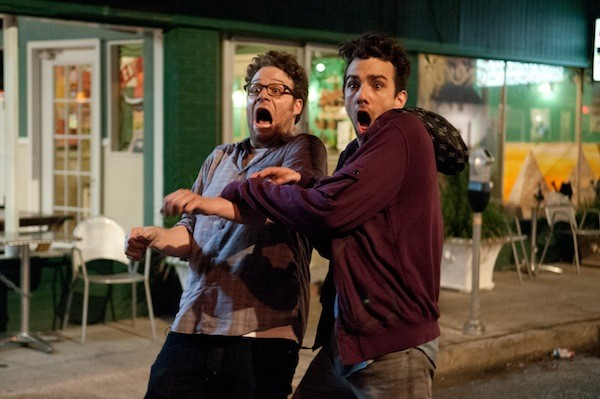LIFE SAVERS: Seth Rogen and Jay Baruchel try to survive, period, in This Is the End. (Photo: Columbia)