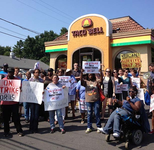 Local fast-food workers and advocates called for livable wages during an August protest.