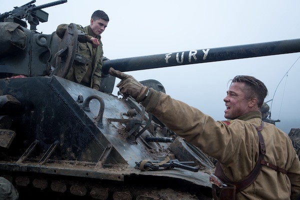 Logan Lerman and Brad Pitt in Fury (Photo: Columbia)
