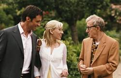FOCUS FEATURES - LONDON MURDER MYSTERY Sondra (Scarlett Johansson) and Sid (Woody Allen, right) wonder if aristocrat Peter Lyman (Hugh Jackman) is also the Tarot Card Killer in Scoop.