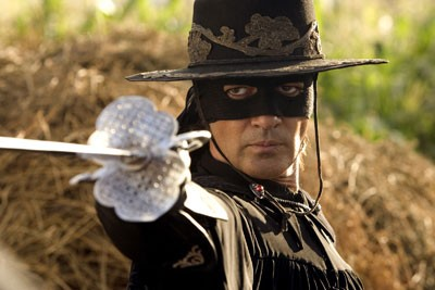 LOOKING SHARP Antonio Banderas masks his contempt for villainy in The Legend of Zorro